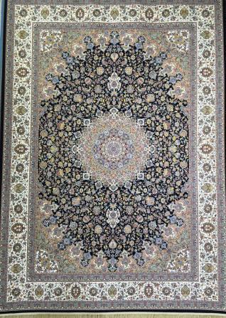 فرش ١٢٠٠ شانه ٢.٢٥*١.٥ نایین اصفهان سرمه ای تراکم ٣٦٠٠
