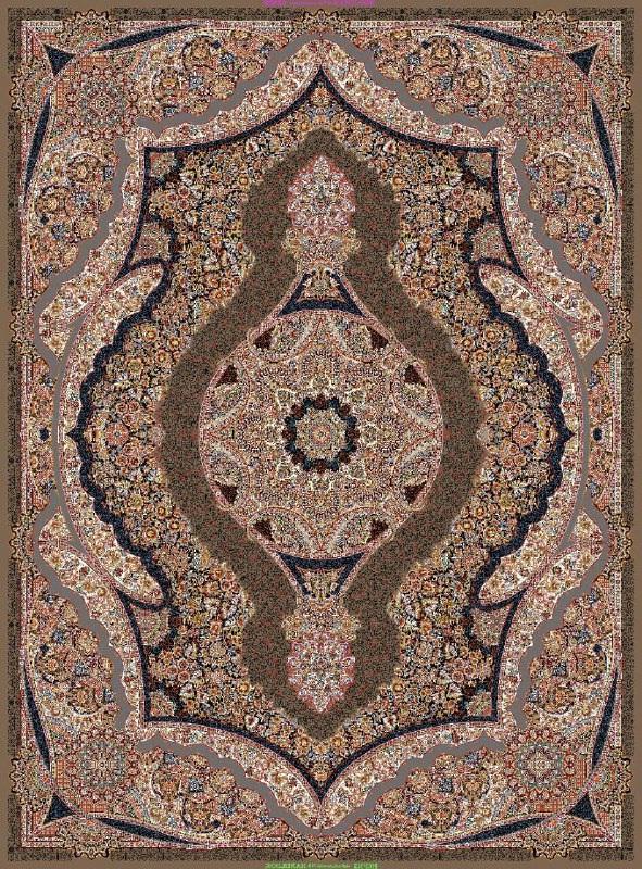 فرش ماشینی ٤*٣ تیراژه گردویی تراکم ٢١٠٠ درجه ١