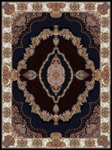 فرش ماشینی ٧٠٠ شانه تراکم ٢١٠٠ ٤*٣ طرح نوزهان سرمه ای گلسار درجه ١