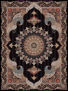 فرش ماشینی ٧٠٠ شانه تراکم ٢١٠٠ ٤*٣ طرح پریماه آبی گلسار درجه ١