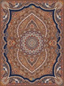 فرش ماشینی ٧٠٠ شانه تراکم ٢١٠٠ ٤*٣ طرح ماندگار گردویی گلسار درجه ١
