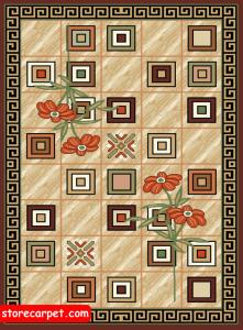 گلیم فرش ٤*٣ طرح مینا کرم نساجی ده رنگ مشهد