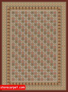 گلیم فرش ٤*٣ طرح مشبک قهوه ای نساجی ده رنگ مشهد