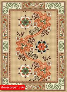 گلیم فرش ٤*٣ طرح پروانه کرم نساجی ده رنگ مشهد