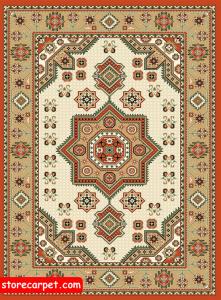 گلیم فرش ٤*٣ طرح ستاره کرم نساجی ده رنگ مشهد