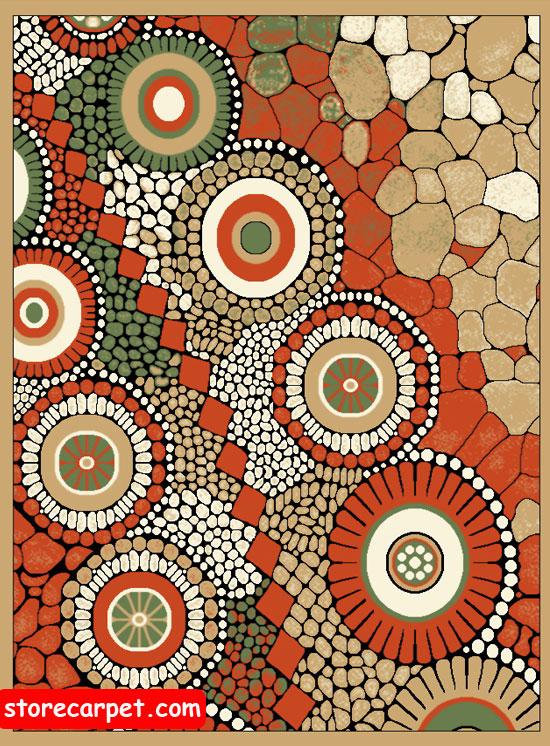 گلیم فرش ٤*٣ طرح سنگی بادامی نساجی ده رنگ مشهد