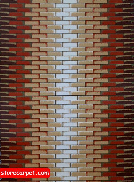 گلیم فرش ٤*٣ طرح آجری بادامی نساجی ده رنگ مشهد