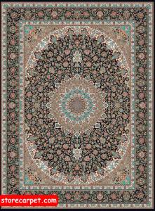 فرش ماشینی ١٢٠٠ شانه تراکم ٣٦٠٠ ٤*٣ طرح نایین سرمه ای جانان کارپت درجه ١