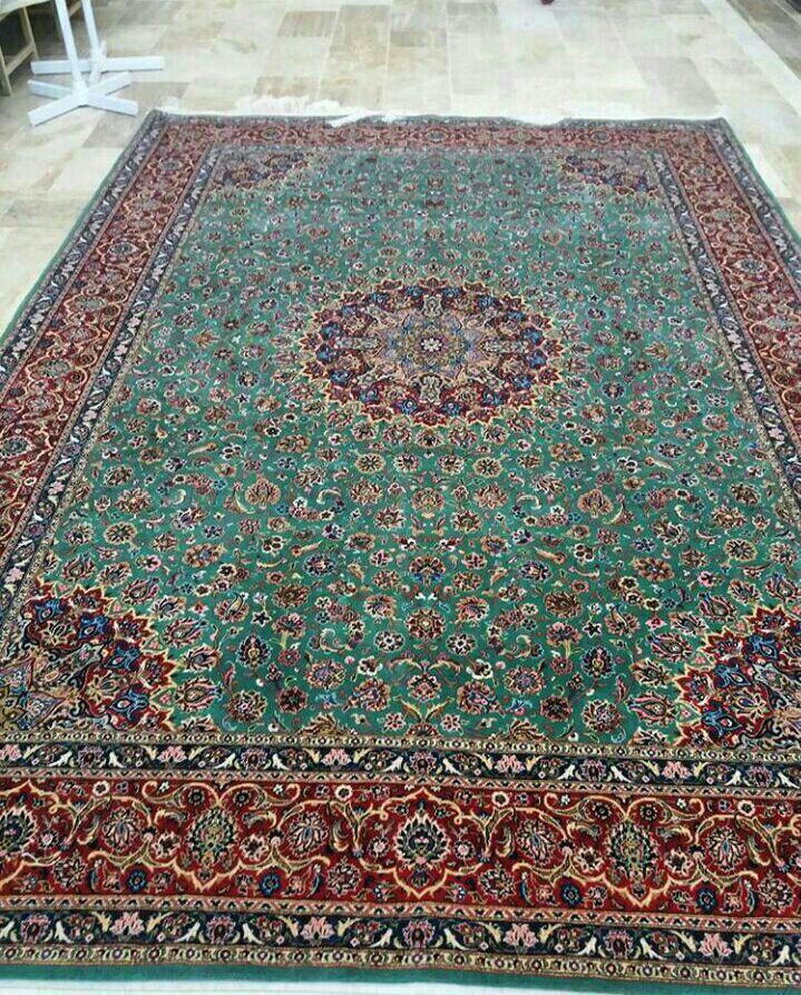 فرش دستباف پشمی ٣.٥*٢.٥ طرح ترنج سبز ترنج محراب کاشان