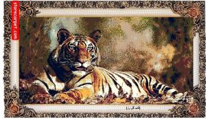 تابلو فرش ماشینی ١٢٠٠ شانه ١٠٠*٥٠ طرح حیوانات ( قاب گل رز ) چهل گیس مشهد