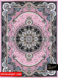 فرش ماشینی ٧٠٠ شانه تراکم ٢٥٥٠ ٤*٣ طرح ٢٠٨٧ صورتی نگین مشهد هلال