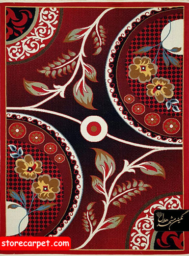 گلیم فرش  طرح ٤١٥ قرمز نگین مشهد هلال