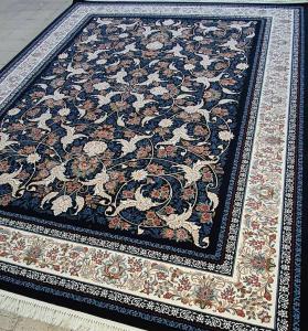 فرش ماشینی ٧٠٠ شانه تراکم ٢٥٥٠ ٤*٣ طرح افشان درباری سرمه ای شکوفه