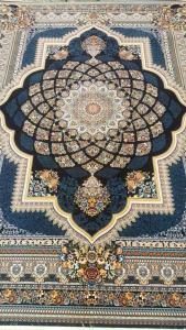 فرش ماشینی ٧٠٠ شانه تراکم ٢٥٥٠ ٤*٣ طرح لوکس سرمه ای شکوفه