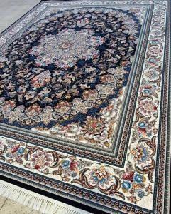 فرش ماشینی ٧٠٠ شانه تراکم ٢٥٥٠ ٤*٣ طرح میخک سرمه ای شکوفه