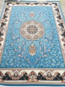 فرش ماشینی ٧٠٠ شانه تراکم ٢٥٥٠ ٤*٣ هیوا آبی شکوفه