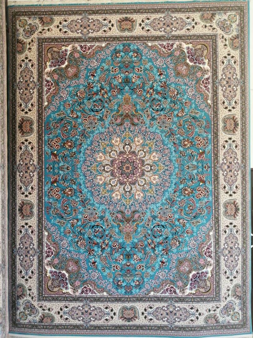 فرش ماشینی ١٠٠٠ شانه تراکم ٣٠٠٠ ٤*٣ استانبول آبی کاربنی شکوفه