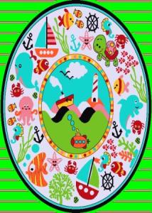 فرش اتاق کودک ١.٥*١.٥ کد ٥٦٤ سبز تراکم ٩٦٠