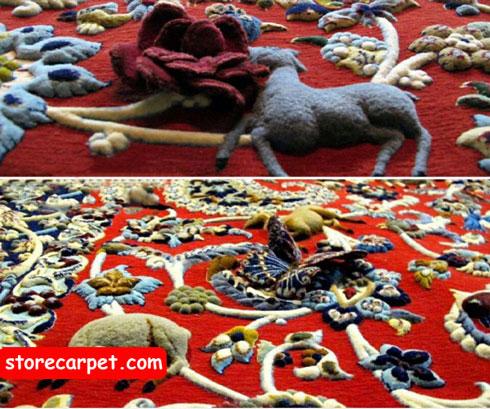 بافت فرش دستباف به صورت سه بعدی
